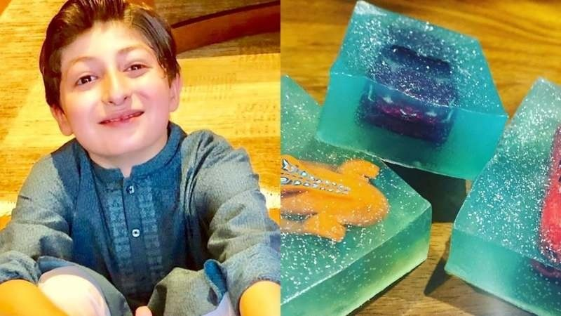Little Tayyab's handmade soaps gift you a toy after you wash your hands