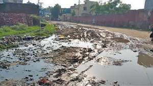 Road submerged in sewage for three months
