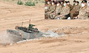 Army chief attends demo of newly inducted battle tank