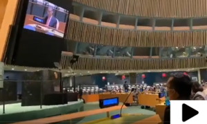 عمران خان کے خطاب کے دوران بھارتی مندوب اٹھ کر چلے گئے