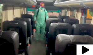 محکمہ ٹرانسپورٹ سندھ کی جانب سے مسافر بسوں میں جراثیم کش اسپرے کی مہم