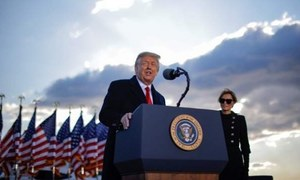 ٹرمپ تقریب حلف برداری میں شرکت کیے بغیر روانہ، میری لینڈ میں حامیوں سے خطاب