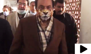 رانا ثنا اللہ کی ٹائیگر والا ماسک پہن کر عدالت میں 'دبنگ انٹری'