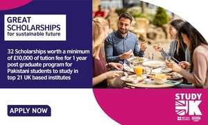 British Council is offering 32 scholarships for Pakistani post grads to study in the UK