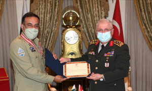 Chairman joint chiefs of staff committee receives Turkish military award for promoting defence ties