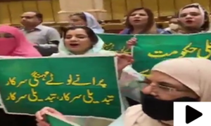 پنجاب اسمبلی میں بجٹ تقریر کے دوران اپوزیشن کا احتجاج