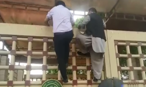 Lawmakers scale Sindh Assembly gate to enter building as PTI MPAs block entrance, stage sit-in