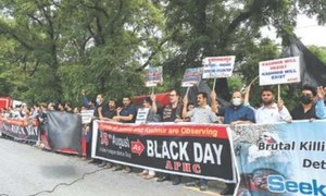 Kashmiris observe India's independence day as black day