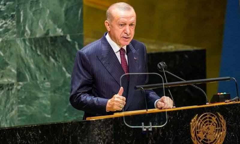 ترک صدر کا اقوامِ متحدہ کی قراردادوں کے تحت مسئلہ کشمیر کے حل پر زور