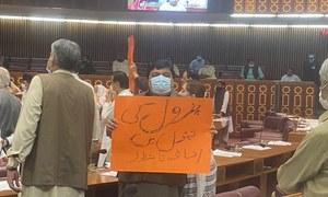 قومی اسمبلی میں اپوزیشن کا پیٹرولیم مصنوعات کی قیمتوں میں اضافے پر احتجاج