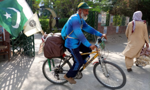 'Peace & love tour': Meet the 61-year-old man cycling to different cities to showcase the softer side of Pakistan
