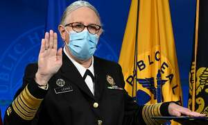 Transgender official sworn in as four-star admiral in US Public Health Service