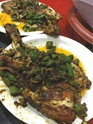 Spicy tawa chicken and lots of green chillies thrown in